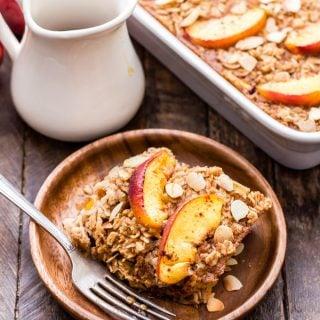 Cinnamon Peach Almond Baked Oatmeal