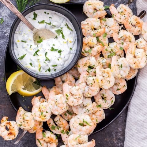 Lemon Dill Grilled Shrimp with Yogurt Herb Sauce