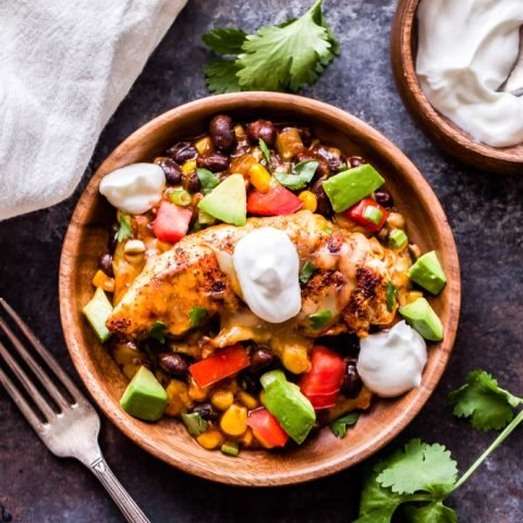 Skillet Enchilada Chicken with Black Beans and Corn