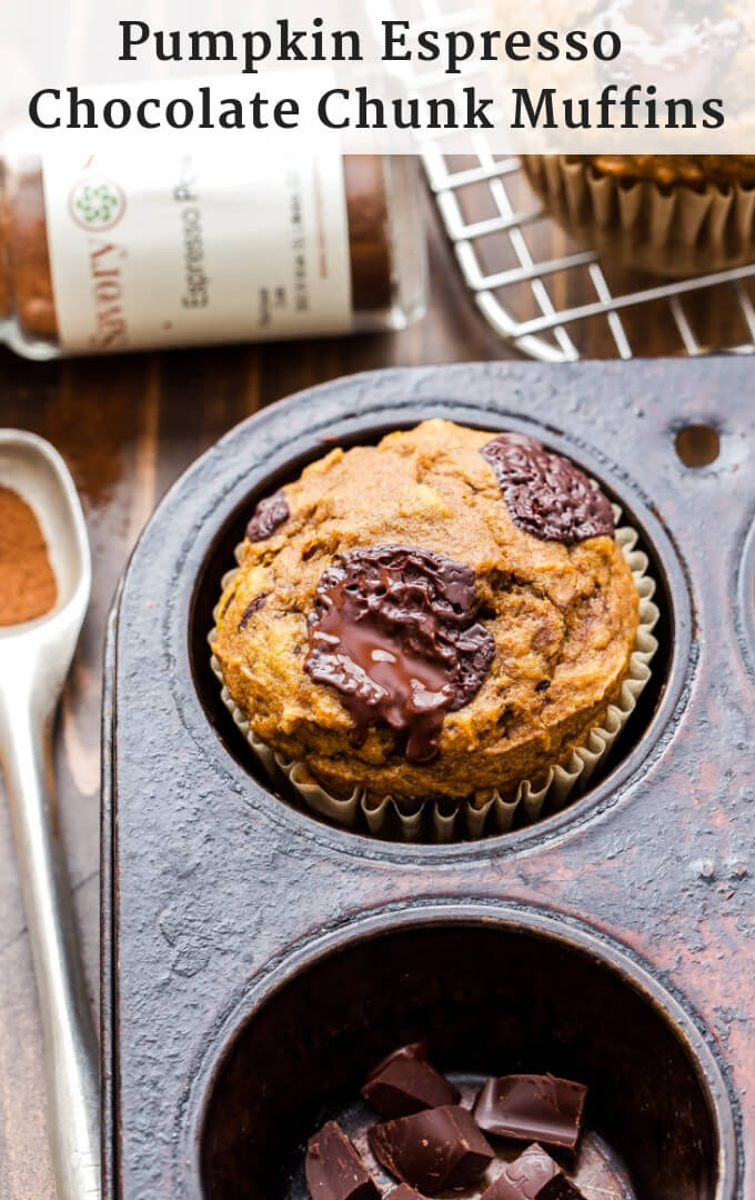 These Pumpkin Espresso Chocolate Chunk Muffins are loaded with warm spices, plenty of dark chocolate chunks and are perfect to have with your coffee on a crisp fall morning! #muffins #pumpkin #pumpkinmuffins #chocolate #breakfast #brunch #espresso