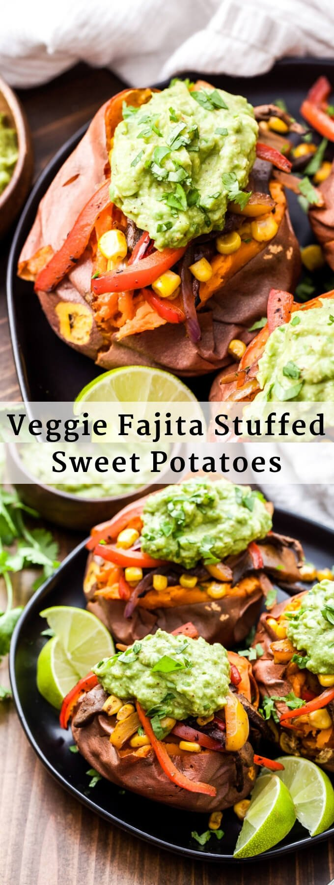 Veggie Fajita Stuffed Sweet Potatoes are great way to change up traditional fajitas. Baked sweet potatoes are topped with mushrooms, peppers and onions in a flavorful blend of Mexican spices. Finish them off with guacamole for a healthy and filling meatless dinner! #fajitas #sweetpotato #vegetables #vegan #glutenfree #healthydinner