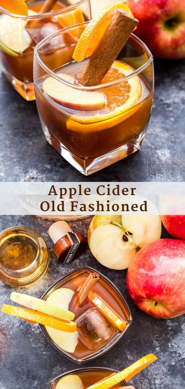 Apple Cider Old Fashioned Pinterest collage.