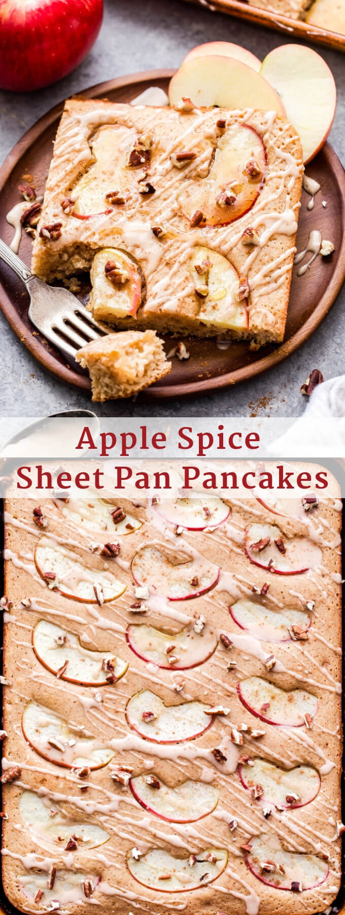 Apple Spice Sheet Pan Pancakes are perfect for fall breakfast or brunch and won't leave you standing over the griddle flipping them while everyone else eats! #pancakes #sheetpan #breakfast #brunch #apple #applespice #thanksgiving