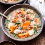 Chicken and Sweet Potato Stew is a cozy dinner to cozy up with after a long day. Simple, wholesome ingredients create a delicious stew that will make you forget all about those flavorless versions you've had in the past! #stew #chickenstew #chickenrecipe #glutenfree #dinner