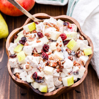 This Harvest Chicken Salad is loaded with apples, pears, dried cranberries, pecans and a creamy, tangy Greek yogurt dressing. It's perfect for when you're craving a lighter, healthier meal this fall.#chickensalad #chicken #glutenfree #easyrecipe #greekyogurt #healthyrecipe