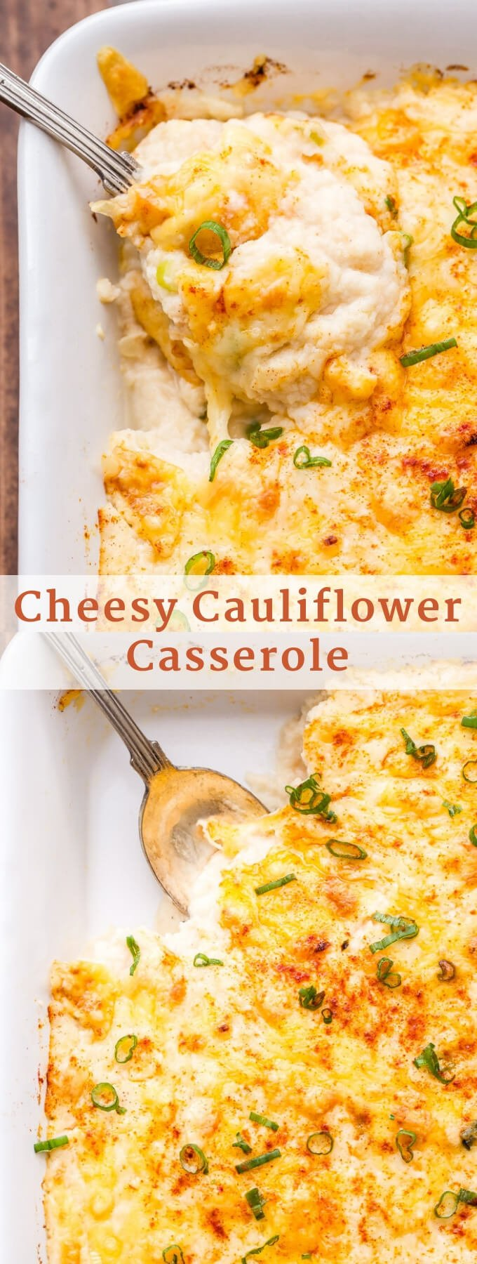 Add this Cheesy Cauliflower Casserole to your holiday menu for a delicious side dish everyone will love! All the flavor of cheesy mashed potatoes without all the carbs! #cauliflower #lowcarb #sidedish #thanksgiving #cauliflowercasserole #cheese #christmas