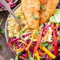 Crispy Fish Taco Bowls with Rainbow Slaw