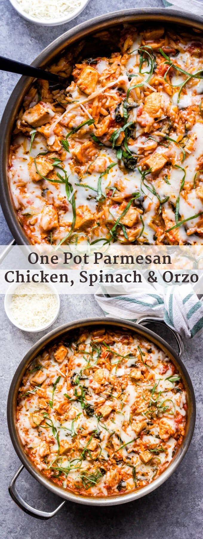 One Pot Parmesan Chicken, Spinach and Orzo has all the flavors of chicken parmesan, but without all the dishes! This easy weeknight meal is sure to please the whole family! #onepot #easyrecipe #30minutemeal #chickenparmesan #orzo #pasta #chicken #italianfood