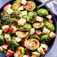 Roasted Brussels Sprouts with Apples and Maple Mustard Dressing