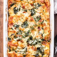 Spinach, Bacon and Cheese Strata