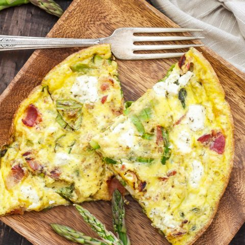 Asparagus, Bacon and Herbed Goat Cheese Frittata