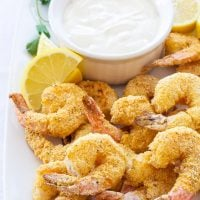 Baked Cornmeal Crusted Shrimp with Light Lemon Aioli