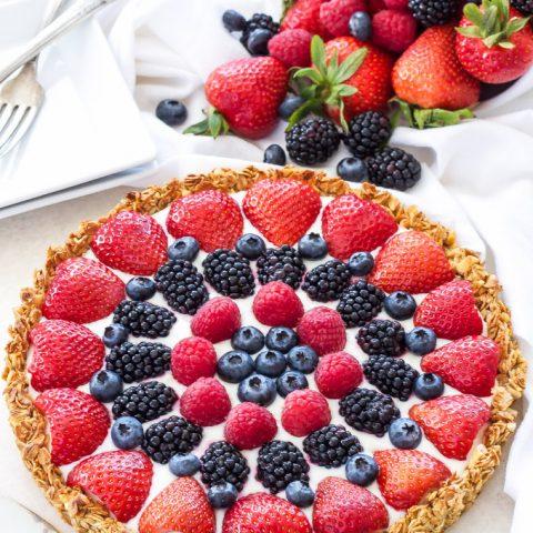 Berries and Yogurt Breakfast Tart with Granola Crust