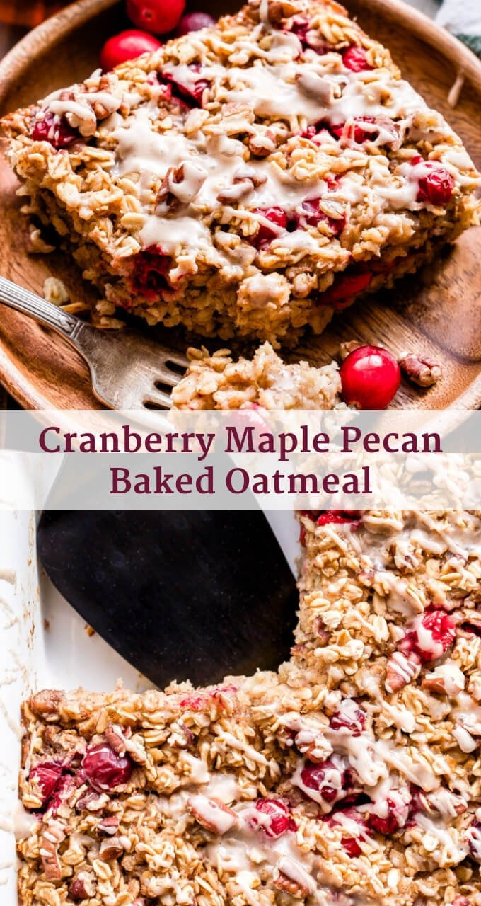 This Cranberry Maple Pecan Baked Oatmeal is perfect for Christmas morning or anytime you need a warm, cozy breakfast! #bakedoatmeal #oatmeal #cranberries #maple #pecan #christmas #christmasbreakfast #glutenfree