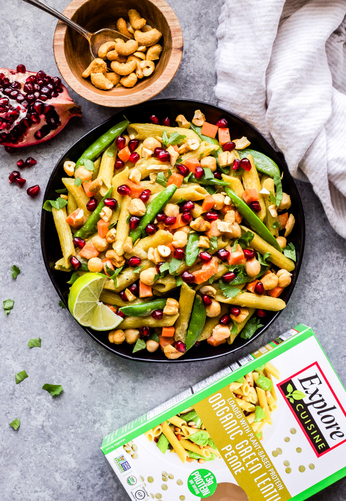 This Green Curry Chickpea and Vegetable Pasta is a healthy, quick and easy dinner that will be on the table in 15 minutes! A gluten-free, vegan, pasta dish loaded with veggies and plant based protein. You won't miss the meat at all! #pasta #easyrecipe #vegan #vegetarian #glutenfree #chickpeas #healthyrecipe #dinner