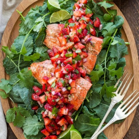 Grilled Salmon with Strawberry Jalapeño Salsa