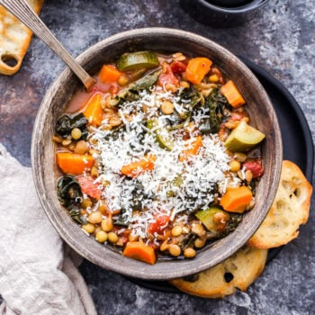 This Italian Lentil and Vegetable Soup tastes similar to a minestrone soup, but with the addition of hearty and protein rich lentils. It's a thick, flavorful, healthy, vegetarian soup that's completely satisfying!#soup #lentils #vegetables #Italiansoup #glutenfree #vegetarian #vegan #healthyrecipe