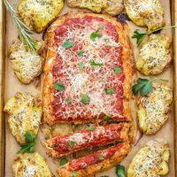 Italian Turkey Meatloaf with Parmesan Rosemary Smashed Potatoes