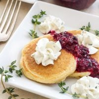 Mini Cornmeal Pancakes with Whipped Goat Cheese and Berry Thyme Compote