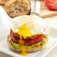 Open-Faced Egg, Avocado and Hash Brown Breakfast Sandwiches