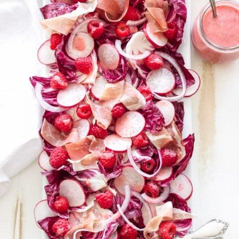 Radicchio Salad with Raspberries, Radishes, Prosciutto, and Raspberry Champagne Vinaigrette