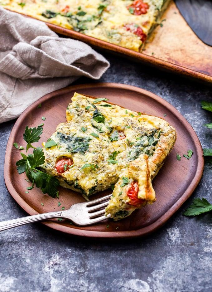 Sheet Pan Spinach Tomato Ricotta Frittata Recipe Runner