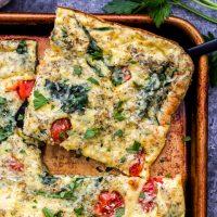 Sheet Pan Spinach Tomato Ricotta Frittata