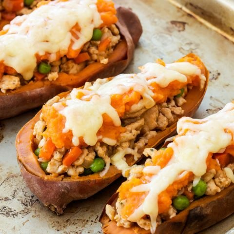 Turkey Shepherd's Pie Stuffed Sweet Potatoes