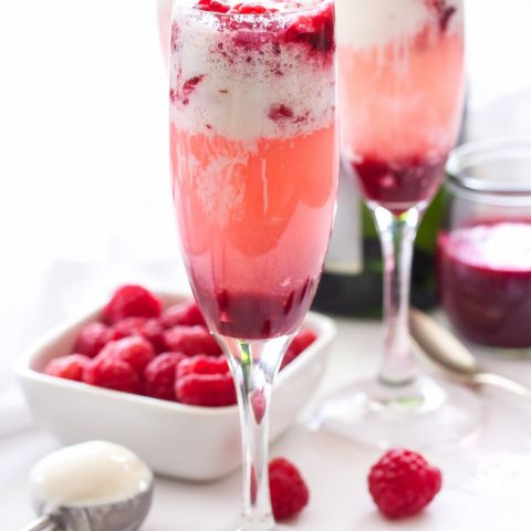 Champagne and Raspberry Ice Cream Floats