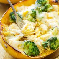 Cheesy Chicken and Broccoli Stuffed Spaghetti Squash
