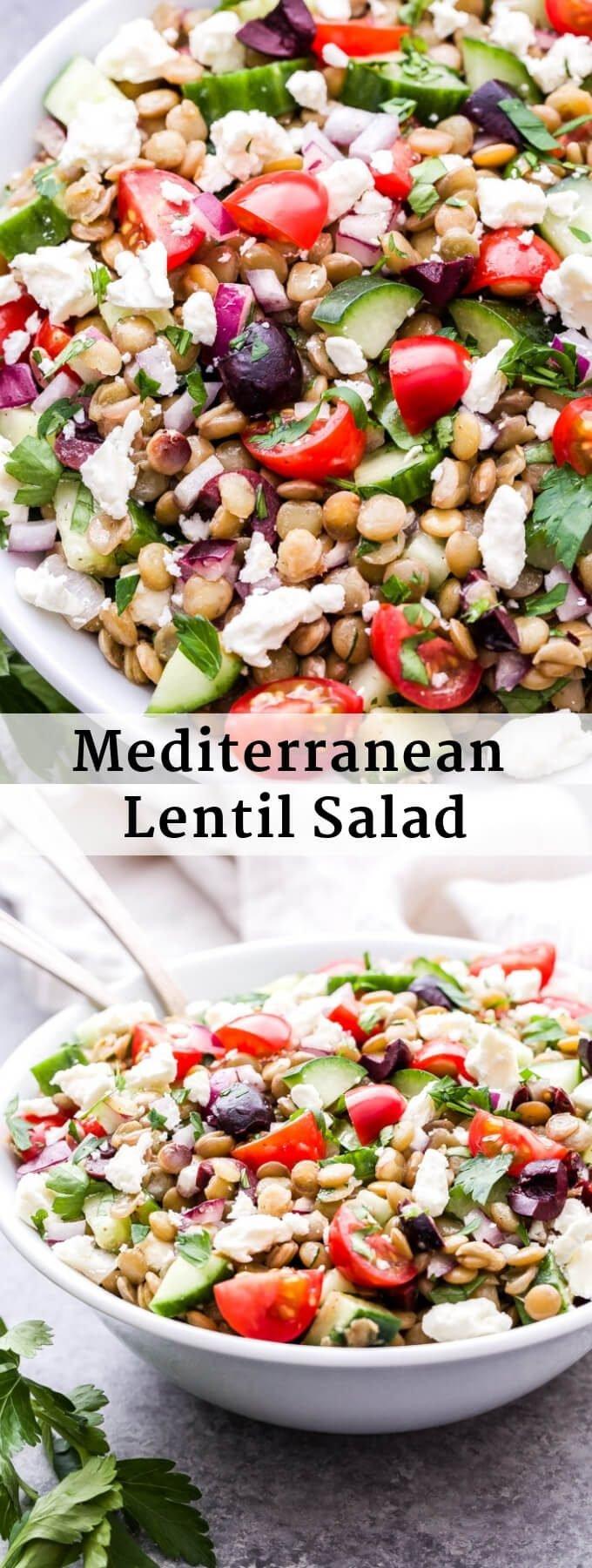 Mediterranean lentil salad pinterest collage