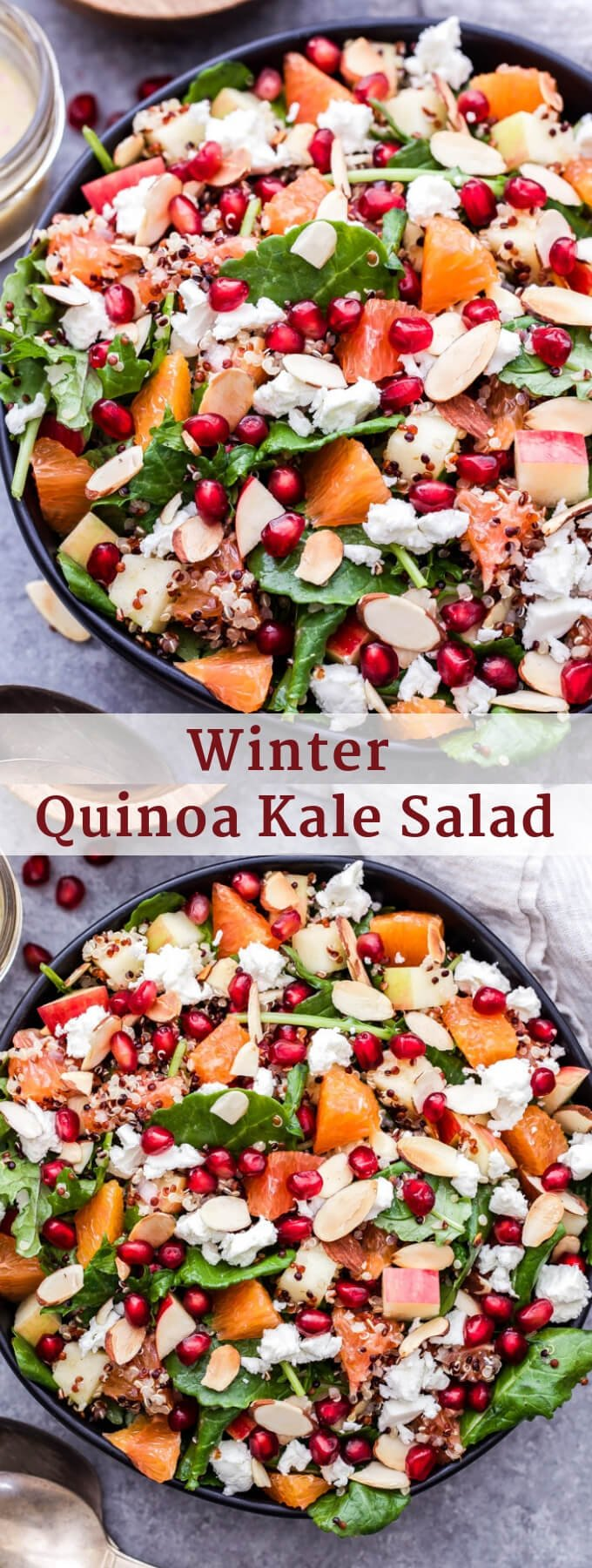 This Winter Quinoa Kale Salad is full of winter produce, hearty quinoa and peppery baby kale! It's a great alternative to your typical lettuce salad. #quinoa #salad #kale #winter #glutenfree #vegetarian