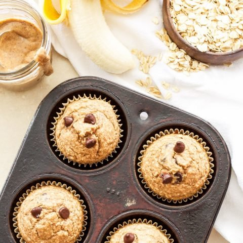 Almond Butter, Banana, Oatmeal Blender Muffins + A Giveaway