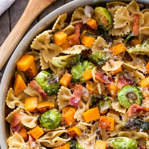 Bacon, Brussels Sprouts, Butternut Squash Pasta