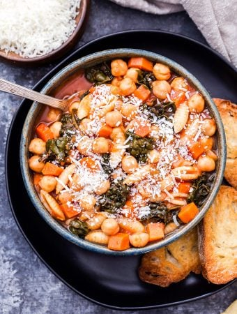 Chickpea Pasta Fagioli is a twist on the classic Italian soup recipe. This cozy bowl of healthy comfort food is sure to warm you up on even the coldest day! #soup #pastafagioli #healthydinner #chickpeas #glutenfree #italianfood
