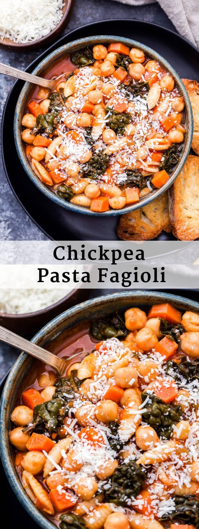 Chickpea Pasta Fagioli is a twist on the classic Italian soup recipe. This cozy bowl of healthy comfort food is sure to warm you up on even the coldest day! #soup #pastafagioli #healthydinner #chickpeas #glutenfree #italianfood #justaddpulses #worldpulseday #halfcuphabit