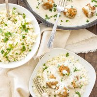 Healthy Swedish Meatballs with Cauliflower Rice Pilaf