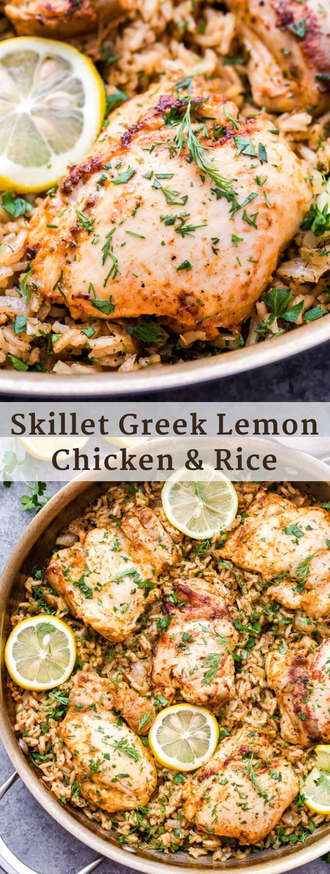 Skillet Greek Lemon Chicken and Rice couldn't be easier to make and is ideal for a weeknight dinner! Hearty chicken thighs are marinated in Greek spices, garlic and lemon juice then nestled on top of herbed rice and baked to perfection! #chicken #chickenthighs #Greek #lemon #skillet #onepan #easyrecipe #glutenfree #rice #healthyrecipe
