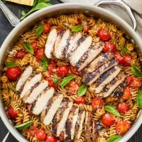 Tomato Basil Pasta with Balsamic Grilled Chicken