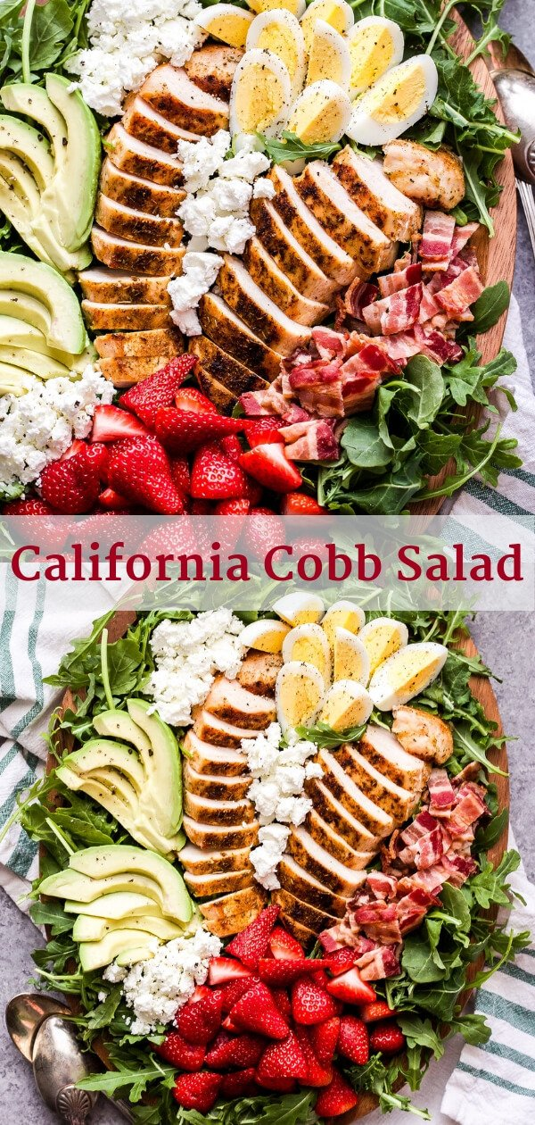 California Cobb Salad with a touch of spring! You'll love the addition of sweet strawberries, tangy goat cheese and a lemon vinaigrette to brighten of this classic main dish salad! #cobbsalad #salad #avocado #chicken #strawberries #glutenfree #californiacobb #dinner #healthysalad