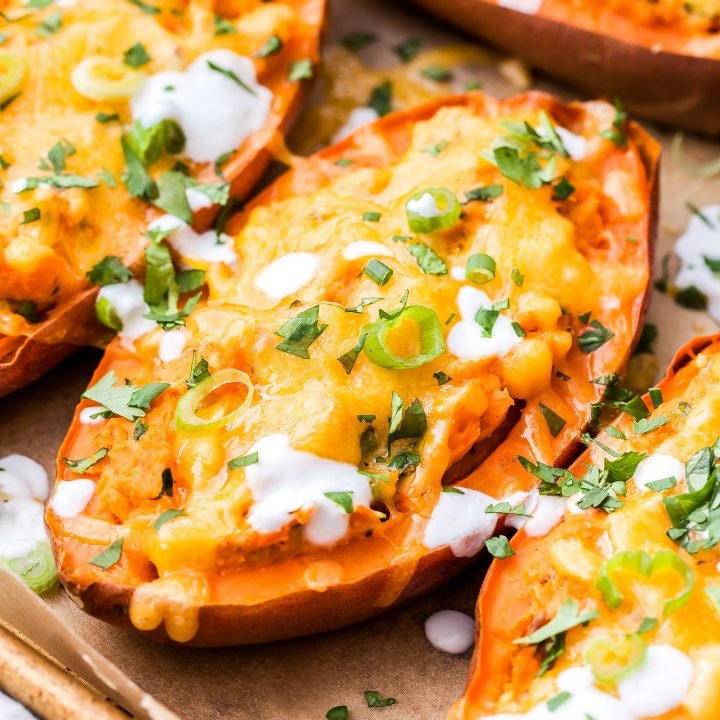 Cheesy Chipotle Lime Twice Baked Sweet Potatoes are sweet, smoky and a little spicy. They're an excellent side dish or even a vegetarian main dish! #sweetpotato #twicebaked #potatoes #sidedish #chipotle #cheesy #vegetarian #glutenfree