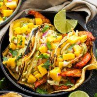 Grilled Shrimp Tacos with Avocado Slaw and Mango Salsa