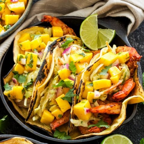 Grilled Shrimp Tacos with Avocado Slaw and Mango Salsa