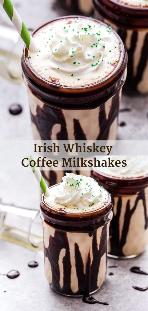 Irish Whiskey Coffee Milkshakes are the perfect adult treat for St. Patrick's Day or anytime you want a boozy shake! #milkshake #whiskey #coffee #stpatricksday #dessert