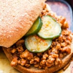 Korean Sloppy Joes with Sweet and Spicy Cucumbers are a tasty Asian twist on the classic version! Easy to make and with just the right amount of sweet and spicy flavors that will please everyone! #sloppyjoes #koreanfood #easyrecipe #onepan #cucumbers #healthyrecipe