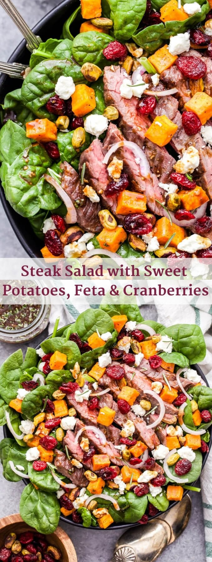 Steak Salad with Sweet Potatoes, Feta and Cranberries is a delicious and filling main dish salad. You'll love the savory, sweet and salty toppings and there's plenty of protein to help keep you full and satisfied! #salad #steak #steaksalad #glutenfree #healthyrecipe #dinner #sweetpotato
