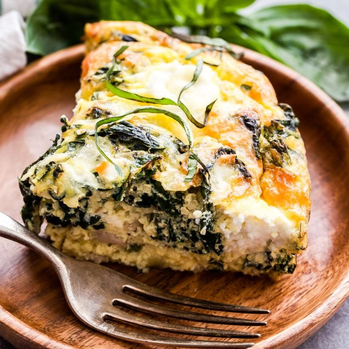 Crustless Sausage, Kale and Ricotta Quiche