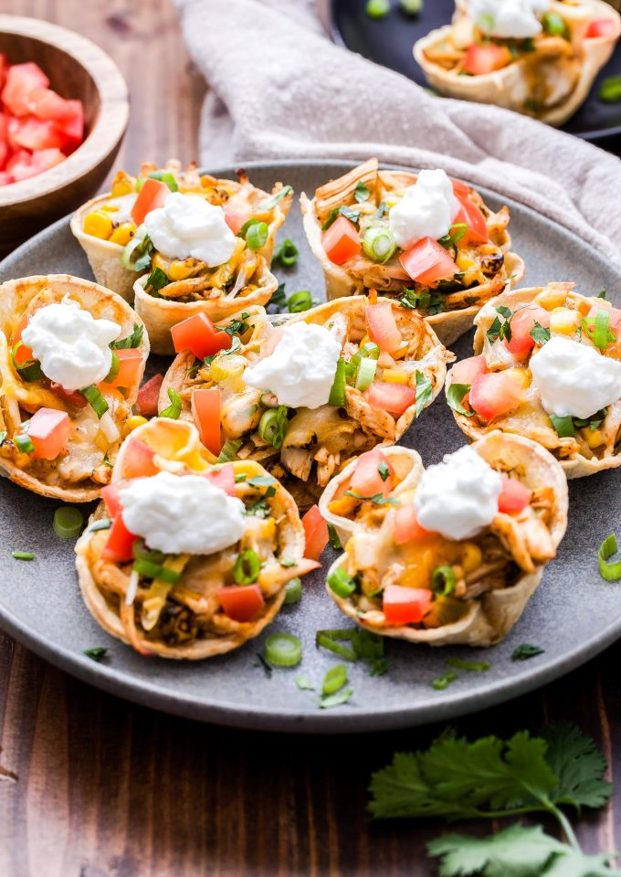 Mini Chicken Enchilada Cups on gray plate