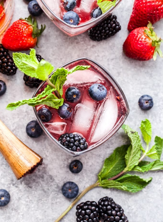 Mixed Berry Mint Julep overhead photo