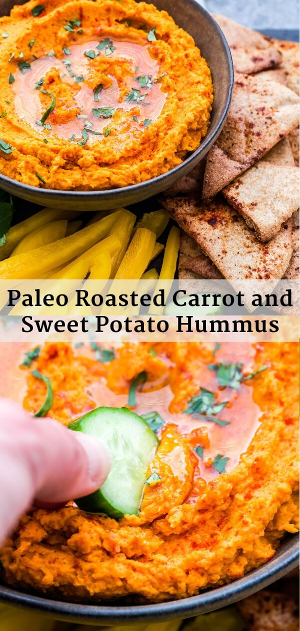 Paleo Roasted Carrot and Sweet Potato Hummus Pinterest collage